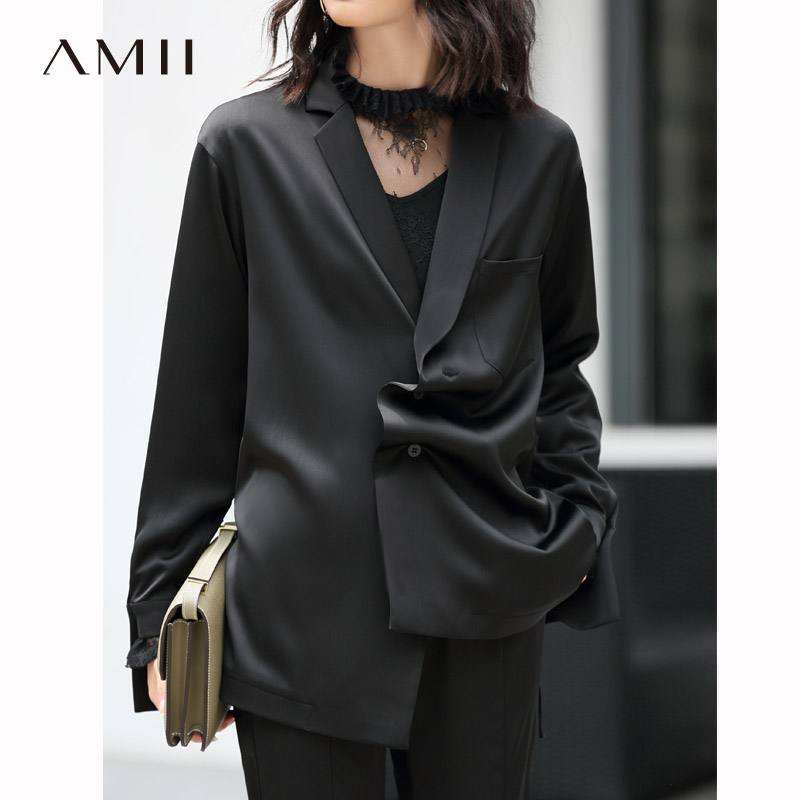 Amii Minimalism Solid Suit Set Women Spring Olstyle Lapel Suit Jacket High Waist Loose Pant 11830117