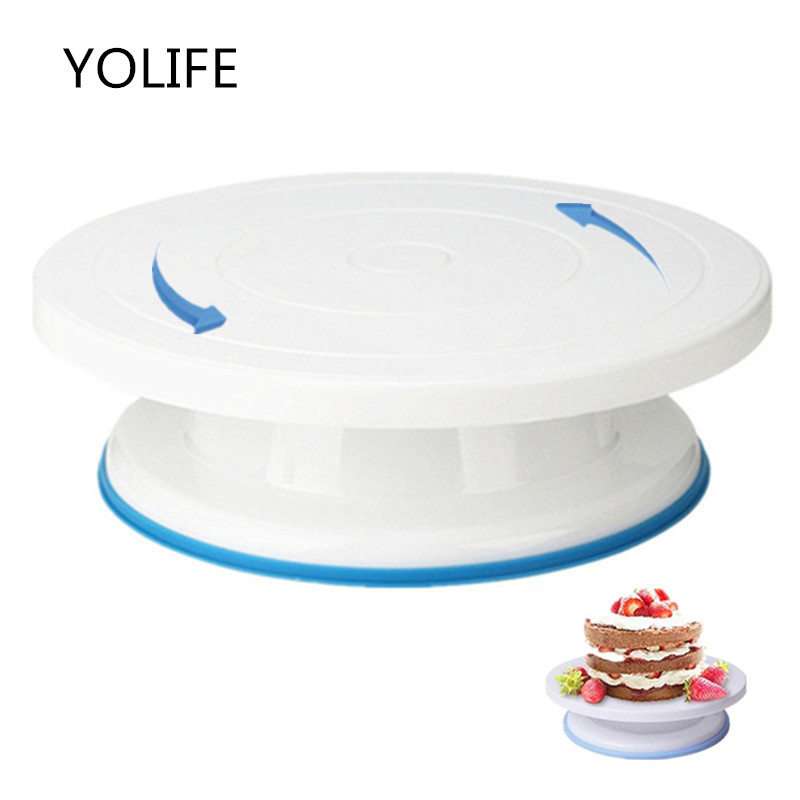 10 Inch Plastic Cake Rotary Table DIY Pastry Baking Tool Cake Stand Cake Turntable Rotating Set Cake Decorating Baking Tool