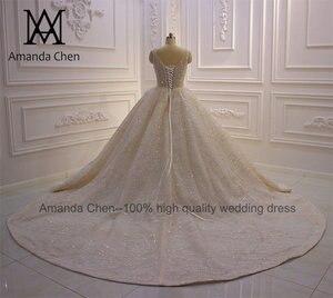 Image 4 - Abito דה sposa שווי שרוול קריסטל פנינים מבריקה טורקיה חתונה שמלת 2020