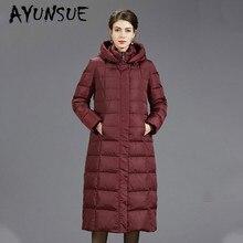 Зимнее пальто для женщин, корейский 90% белый пуховик на утином пуху, Женская Толстая длинная куртка-пуховик, теплая парка, Abrigos B-8801, YY1638