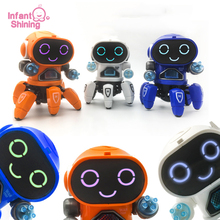 цена на Infant Shining Dance Robot Toy Flash Puzzle Electric Six Claw Fish Robot Lights Music Kids Toys Educational Baby Gifts Robots
