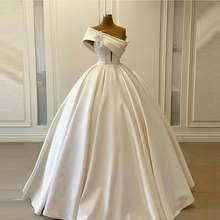 Женское Атласное Бальное Платье элегантное белое длинное бальное