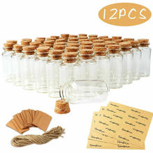 12Pcs 25ml Small Glass Bottles Cork Stopper Transparent Mini Wish Bottles Empty Clear Vials For Wedding Home Decoration Gifts