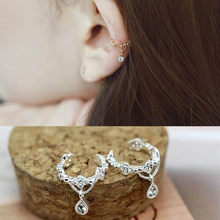 Crystal Rhinestone Stud Earrings Ear Bone Folder Ear Cuff Wrap Rhinestone Cartilage Clip On Earring Hoop Ring Party Jewelry Gold(China)