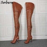 Sorbern Custom 90cm Crotch Thigh High Boots Women Genuine Leather Light Brown Long Boots Unisex Lady Boy High Heel Shoes