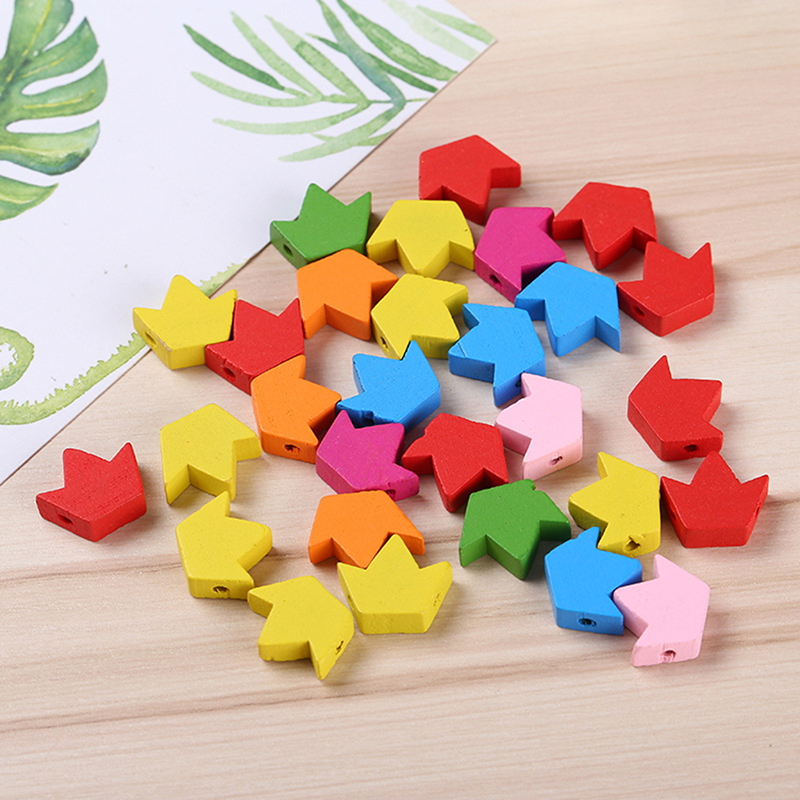 100PCs/Pack DIY Children Educational Toys Handmade Beaded Cartoon Wooden Beads Color Star Crown Accessories