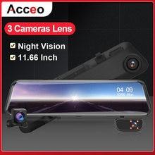 Acceo Car DVR Rearview Mirror 3 Cameras Video Recorder 5/12'' Stream Media 1080P Dash Camcorder Support Rear Camera Night Vision