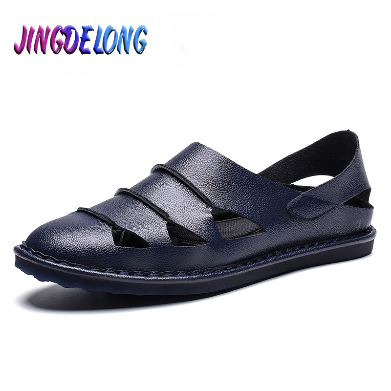 Men's Sandals Leather Breathable Sandals Non-Slip Summer Beach Sandals Fisherman Outdoor Casual Men Leather Flat Male Slippers