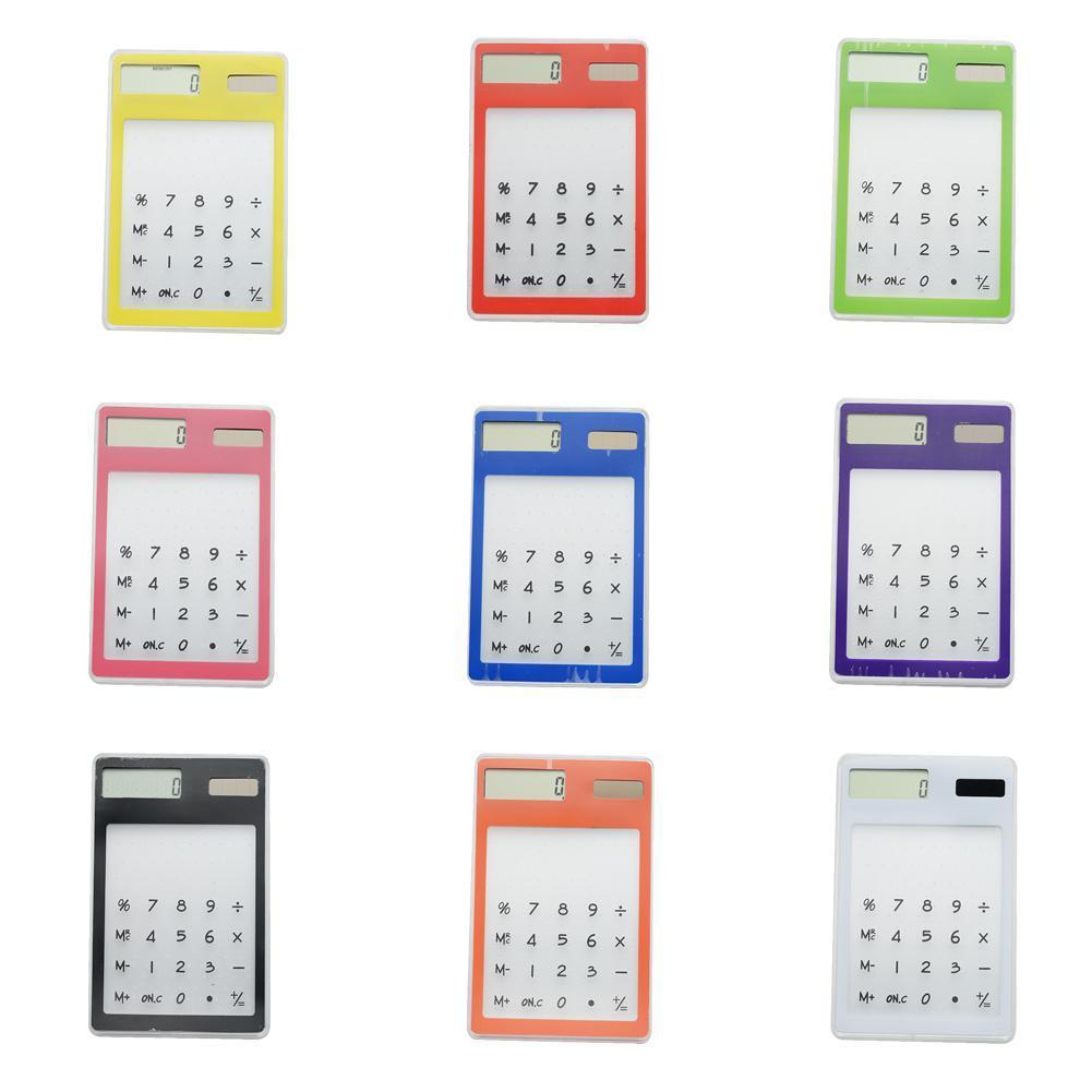 Ultra Thin Transparent Solar Calculator Centechia Useful Calculator Clear Digital Stationery Office Scientific LCD Screen K4X8