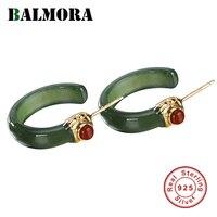 BALMORA Real 925 Sterling Silver Stud Earrings For Women Semicircular Green Stone Earring Gift Elegant Jewelry Ethnic Fashion