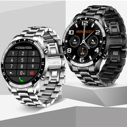 LIGE Full Touch Screen Smart Watch Sports Bluetooth Call Watch Blood Pressure Monitor Message Reminder Business Smartwatch Men