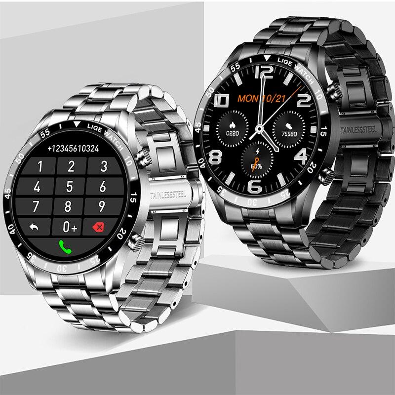 Lige tela sensível ao toque completa relógio inteligente esportes bluetooth chamada relógio monitor de pressão arterial lembrete mensagem negócios smartwatch