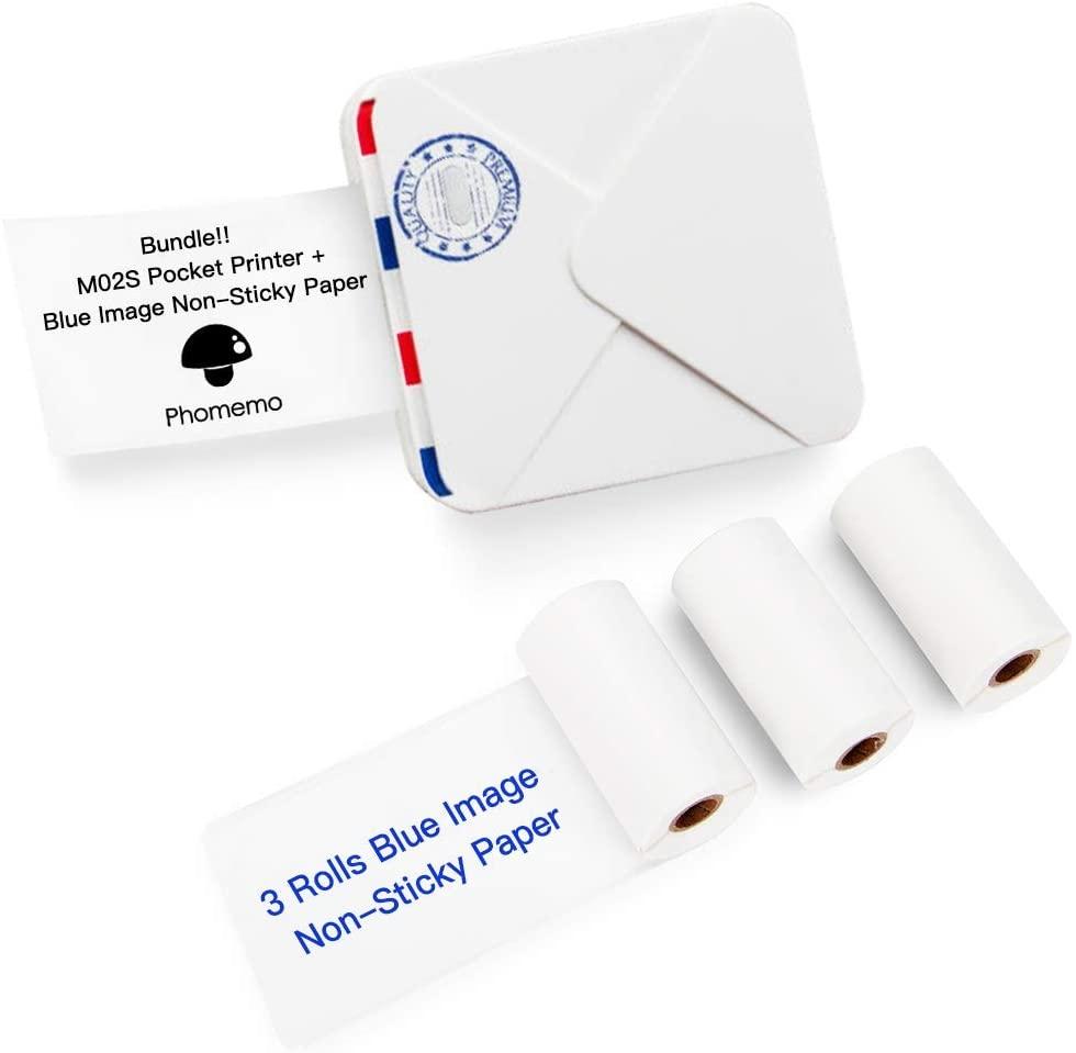 Phomemo M02S Pocket Thermische Printer-Bluetooth Foto Printer Met 3 Rolls Blauw Op Wit Sticker Papier Compatibel Met Ios + Android
