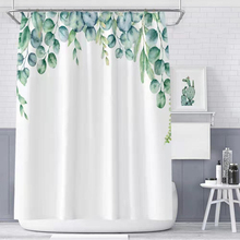 Green Tropical shower curtains Leaves Printed 3D Curtains For Bathroom Natural Plant Polyester  Waterproof Bathroom Curtains