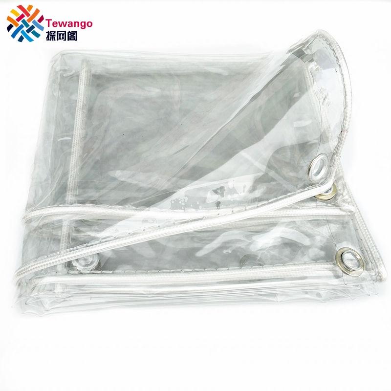 Tewango 99% Transparent Outdoor Soft PVC Rain Cover Waterproof Tarp  Greenhouse Film Heavy Duty Rain Tarp 0.3mm Thickeness