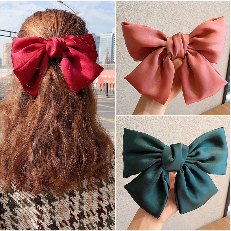 New Fashion Ribbon Big Bow Ladies Hairpin Girl Satin Ladies Hairpin Hairpin Cute Tiara Hair Band Korean Popular Hair Accessories