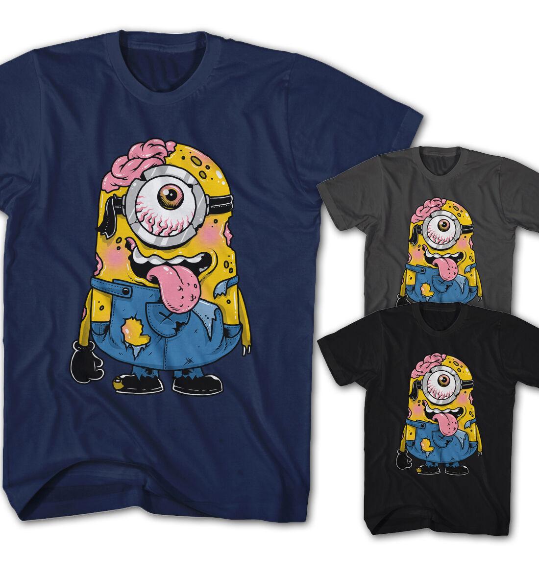 Damen Lustiges T-Shirt Parodie Minions Schwarz