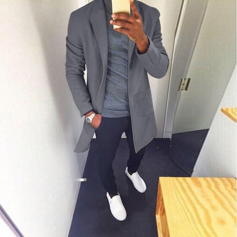 M-XXXL Winter Men Casual Coat Thicken Woolen Trench Coat Business Male Solid Classic Overcoat Medium Long Jackets Tops SA-8