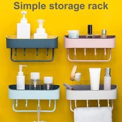 Punch Free Plastic Bathroom Shelf Shower Wall Mounted Shampoo Holder Storage Rack Organizer Home Decoration Bathroom Accessories