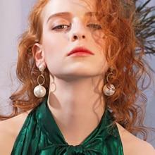 VAGZEB Women New Fashion Pearl Earrings Personality Gold Color Drop earrings Jewelry Gifts