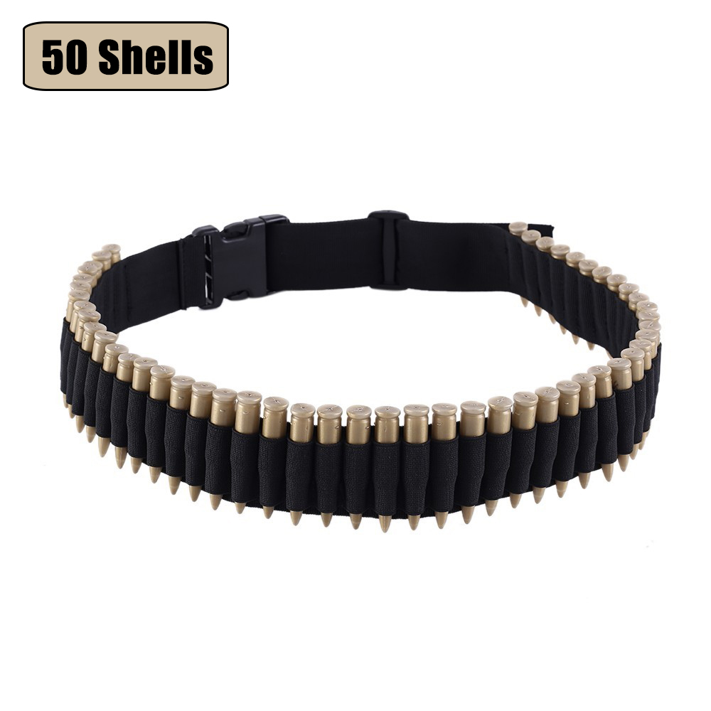 Tactical Bandolier Belt 50 Rounds Shell Holder Airsoft Hunting .22/.223/.204cal Ammo Holder Military Gun Cartridge Belt