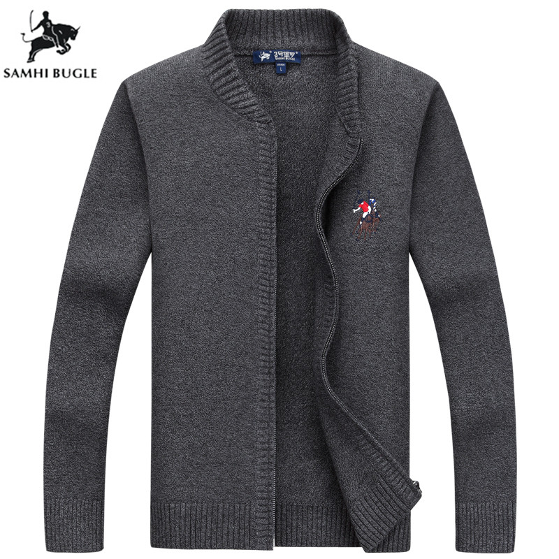 Mens Sweaters For 2019 Winter New Arrival 3D Embroidery Zip Cardigan Men's Sweater Fashion Stand Collar Sweaters For Men