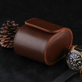 1 siatka zegarek Box Vintage Pu skórzane gniazda elastyczny uchwyt wspornika mechaniczny zegarek kwarcowy dla biznesu woreczki podróżne Man tanie i dobre opinie YangQi CN (pochodzenie) Pudełka do zegarków Moda casual Nowa z metkami Rectangle Ze sztucznej skóry 10cm Skóra brown