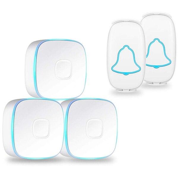 Doorbell Wireless Doorbell Waterproof Chime Kit Door Bell Kits At 1000 Feet Range & 38 Chimes & 4 Level Volume Led Indicator Whi Doorbell     - title=