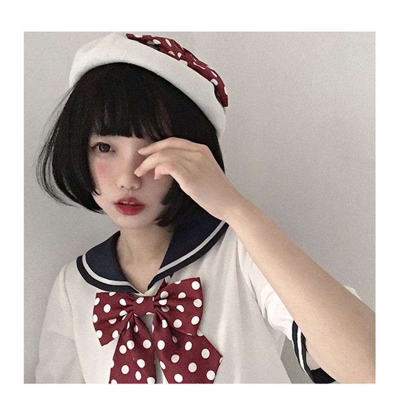 Uwowo Short straight  Wig Cosplay Lolita Cosplay Black Wig Heat Resistant Synthetic Hair Anime Party wigs 28cm