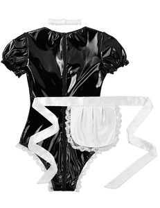Image 4 - Women Naughty Lingerie Erotic Latex Catsuit Sissy Outfits French Maid Cosplay Costume Clubwear Wet Look Patent Leather Bodysuit