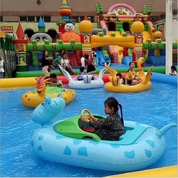 Children's cartoon inflatable bumper boats Water double electric bumper boat  Water floating row Floating toy water park