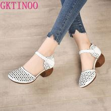GKTINOO Genuine Leather Women Sandals Summer Shoes 5CM High Heels Retro Women Shoes 2021 Hollow Out Sandals