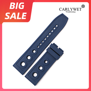 CARLYWET 22 24mm Yellow High Quality Rubber Silicone Replacement Wrist Watch Band Loops Belt For Breitling Seiko Tudor Panerai