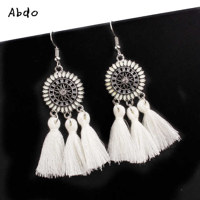 Retro Fringe Earrings Yellow Red White Tassel Sunflower Ladies  Bohemian Style Geometric Personality Party Fashion Jewelry Gift