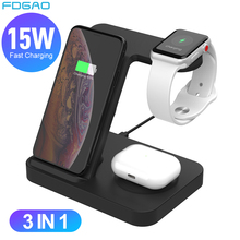 FDGAO 15W Fast Qi Wireless Charger for Apple Watch 5 4 3 2 Airpods Pro iPhone 11 XS XR X 8 Desktop Stand 3 in 1 Charging Station