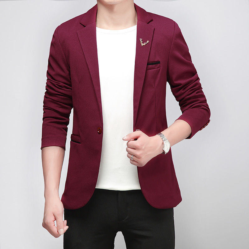 Spring And Autumn New Mens Single Buckle Casual Slim Fit Blazer Men Wedding Dress Blazer Jacket Mens Suit Jacket