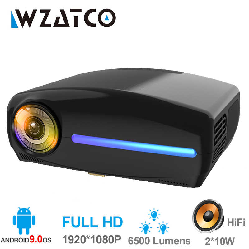 WZATCO C2 1920*1080P Full HD 200 Inci AC3 4D Keystone LED Proyektor Android 10.0 Wifi Portable 4K Home Theater Proyektor Projector
