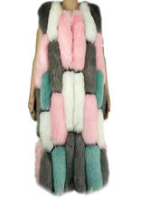 Fluffy Coat Woman Colored faux Fur Vest Long Plus Size Maxi Covered Button Thick Jacket Elegant Warm Sleeveless Casual