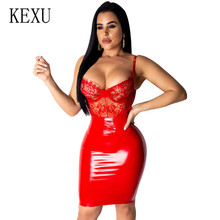 KEXU High Quality PU Leather Lace Patchwork Mini Red Blue Black Dress Women Spaghetti Strap Party Sexy Club Wear Vestidos