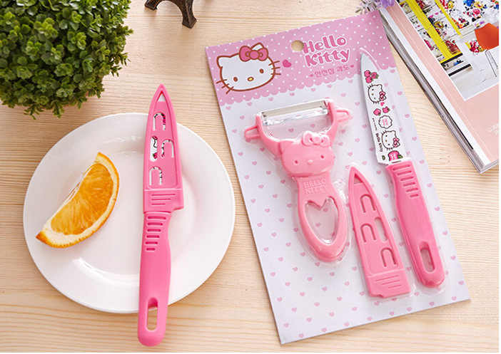 Ciao Kitty cute cartoon in acciaio inox paring coltello raschiato pelapatate set di coltelli