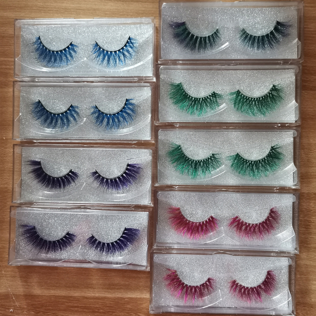 Xinemilin colored faxu mink fake lashes wholesale makeup natural individual false eyelashes various colors white green blue red 2