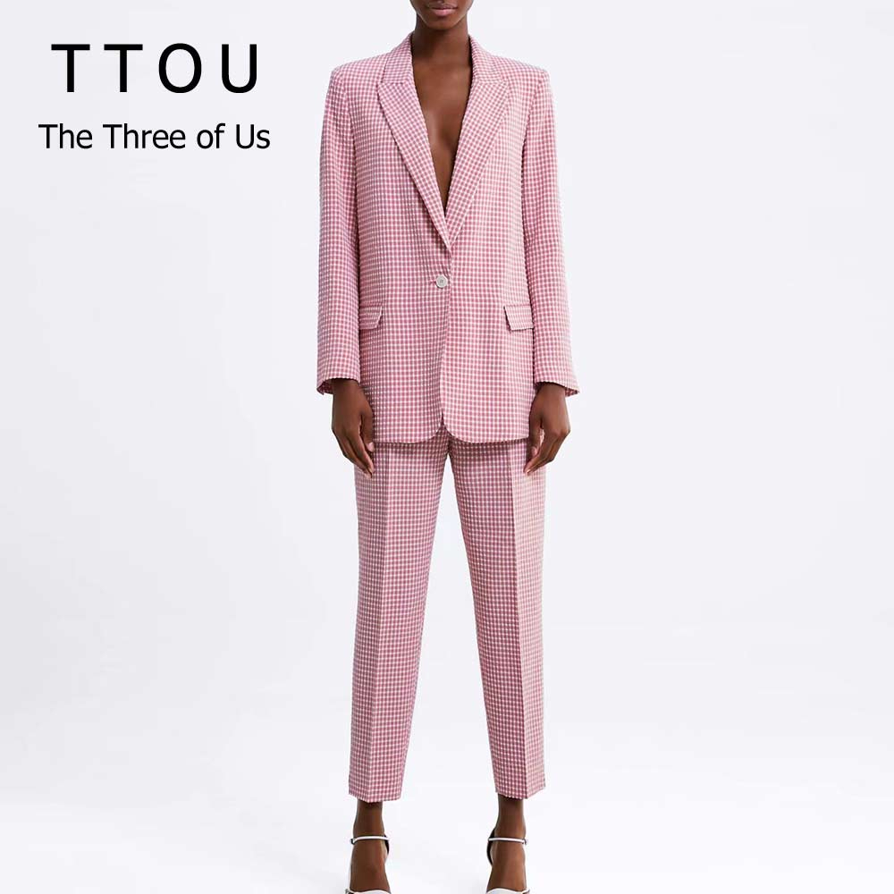 Pink Plaid Women Pant Suit Set Blazer Pockets Single Button Long Sleeve Female Casual Top+ Office Lady Pant 2 Pcs Sets Work Wear