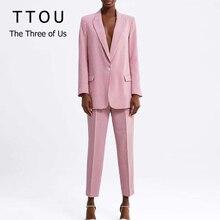 Pink Plaid Women Pant Suit Set blazer Pockets Single Button