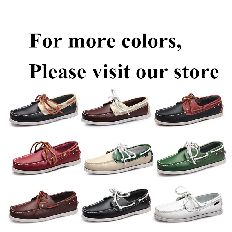 Genuine Leather Shoes Men Boat Shoes Mens Casual Shoes Loafers Genuine Oil Wax Leather Handmade Shoes Moccasins Driving Shoes