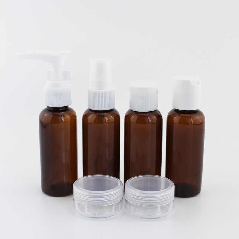 7 unid/set 10 unid/set portátil, para cosméticos, para viajes Kit de botellas de maquillaje Cuidado Personal botellas en avión Spray frascos con sistema de bombeo para crema