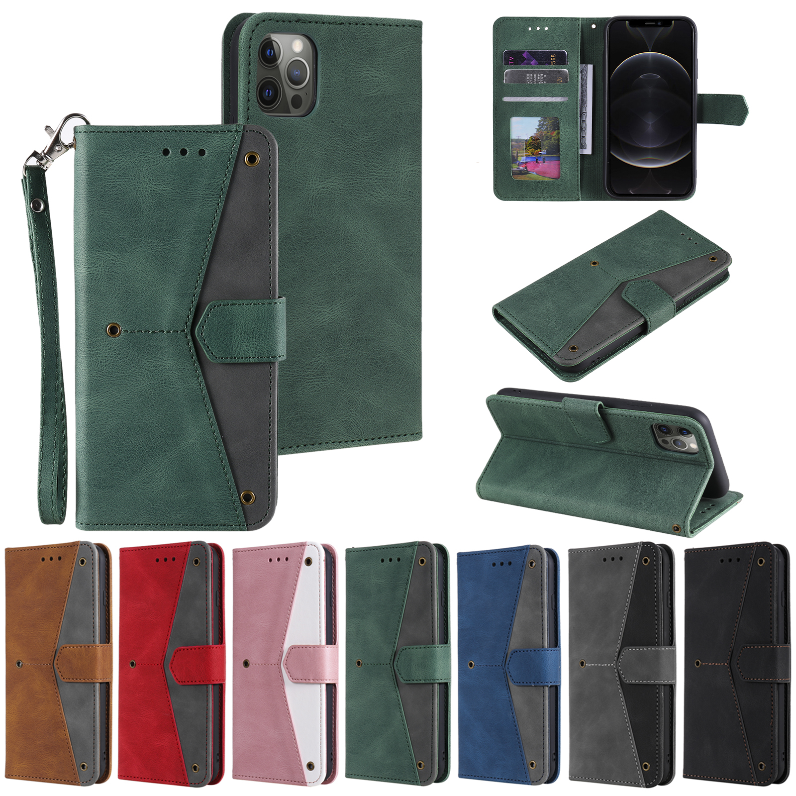 Stitching Calf Pattern Case For Huawei P40 Lite P30 Pro P Smart 2020 Y5P Y6P Card Flip Leather Cover Mobile Bag