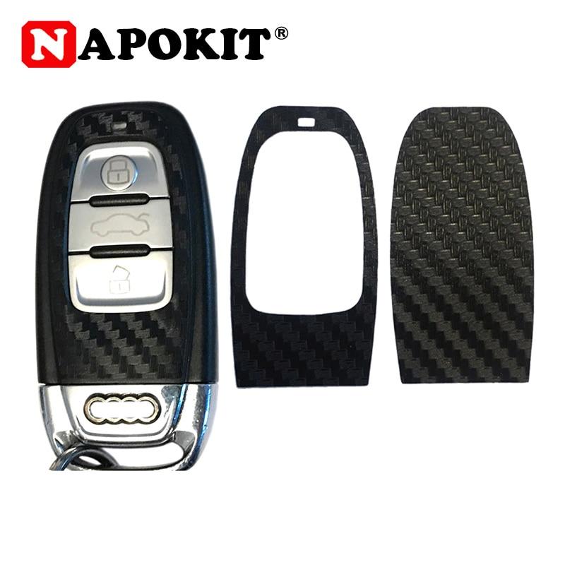 1Set Black Carbon Fiber Car Key Sticker For Audi A4 A6 RS4 A5 A7 A8 S5 RS5 8T Q5 S5 S6 Car Key Refitting Accessories