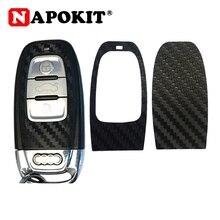 1Set Schwarz Carbon Faser Auto Schlüssel Aufkleber für Audi A4 A6 RS4 A5 A7 A8 S5 RS5 8T q5 S5 S6 Auto Schlüssel Umrüstung Zubehör