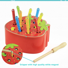 Children's Toys Wooden Caterpillars Eat Apple Fruit Educational Toys Kids Color Perception Early Education Games Montessori Toys