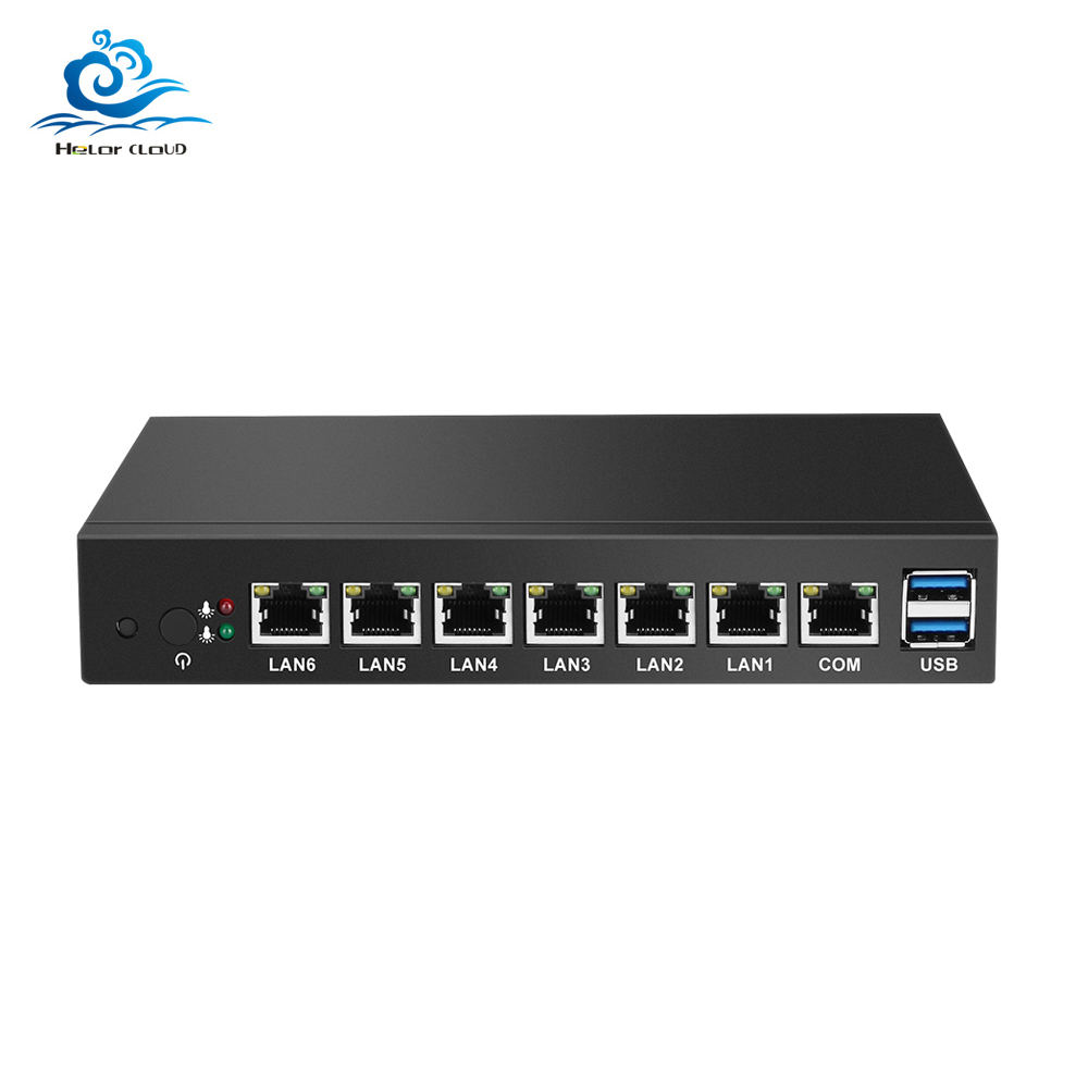 Mini PC 6 Ethernet LAN maršrutētāja ugunsmūris Intel Celeron 1037U pfSense Desktop Industrial PC VPN Windows 7 * 24 stundas strādā